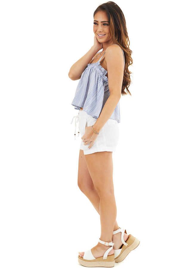 Dusty Blue and Ivory Striped Tank Top with Cropped Hemline side full body