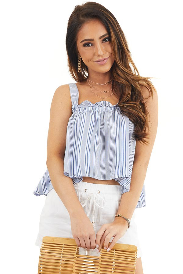 Dusty Blue and Ivory Striped Tank Top with Cropped Hemline front close up