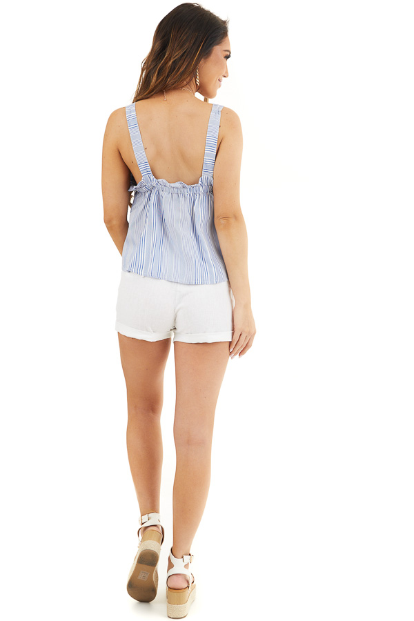 Dusty Blue and Ivory Striped Tank Top with Cropped Hemline back full body
