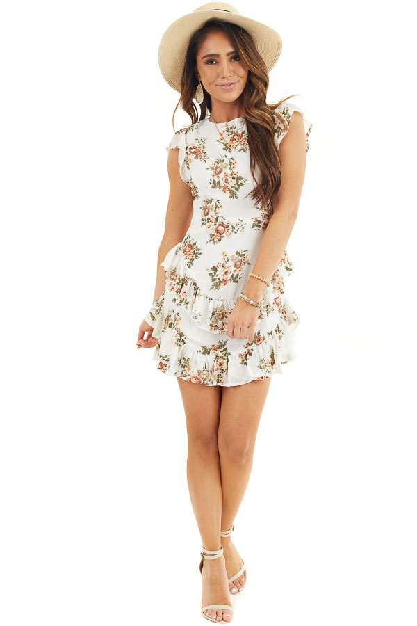 Off White Floral Print Short Dress with Open Back Details front full body