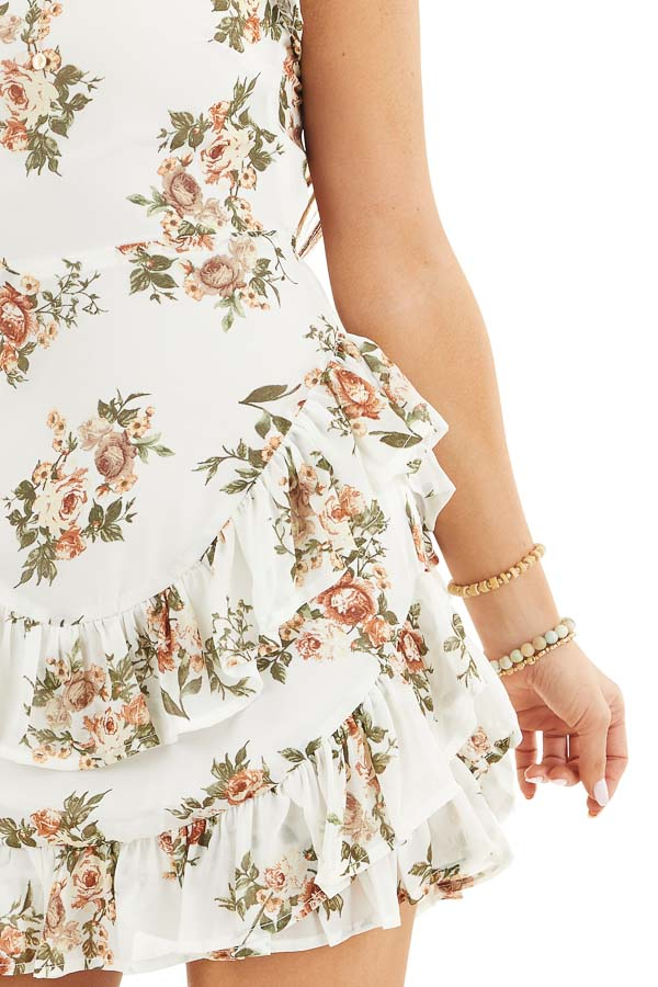 Off White Floral Print Short Dress with Open Back Details detail
