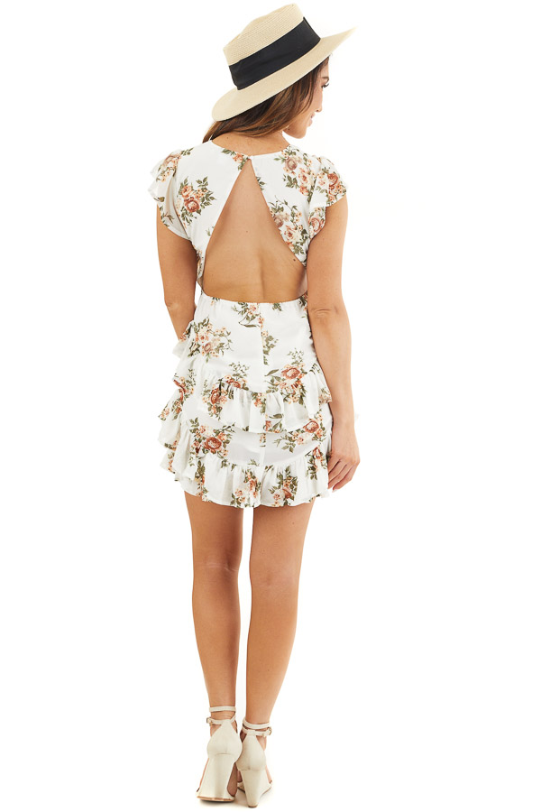 Off White Floral Print Short Dress with Open Back Details back full body