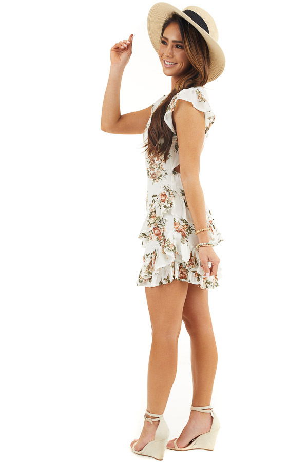 Off White Floral Print Short Dress with Open Back Details side full body