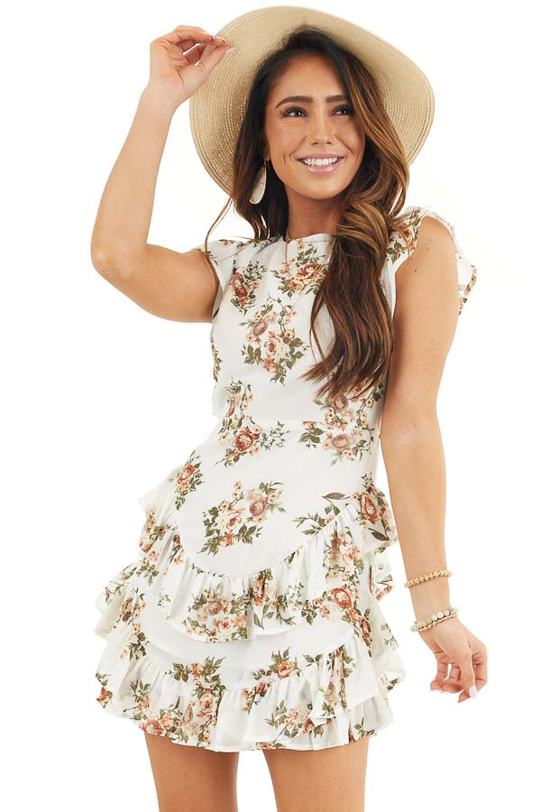 Off White Floral Print Short Dress with Open Back Details front close up