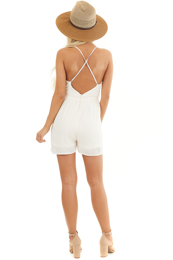 Cream Spaghetti Strap Romper with Crochet Lace and Waist Tie back full body
