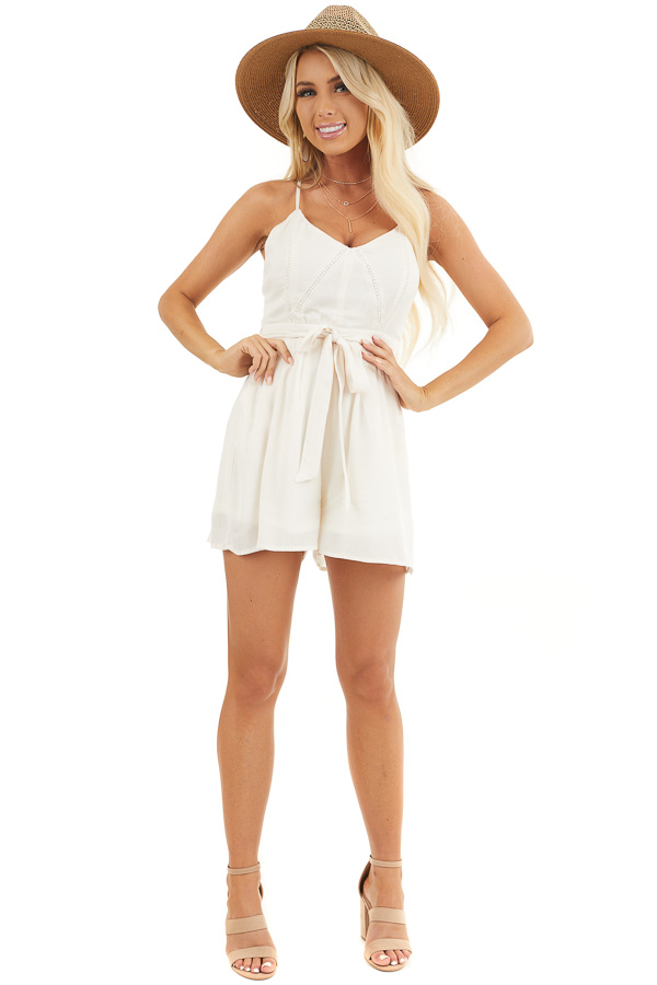 Cream Spaghetti Strap Romper with Crochet Lace and Waist Tie front full body