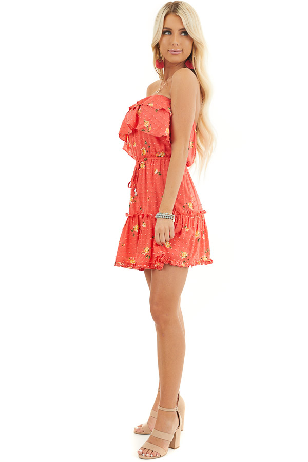 Coral Floral Print Strapless Mini Dress with Ruffle Details side full body