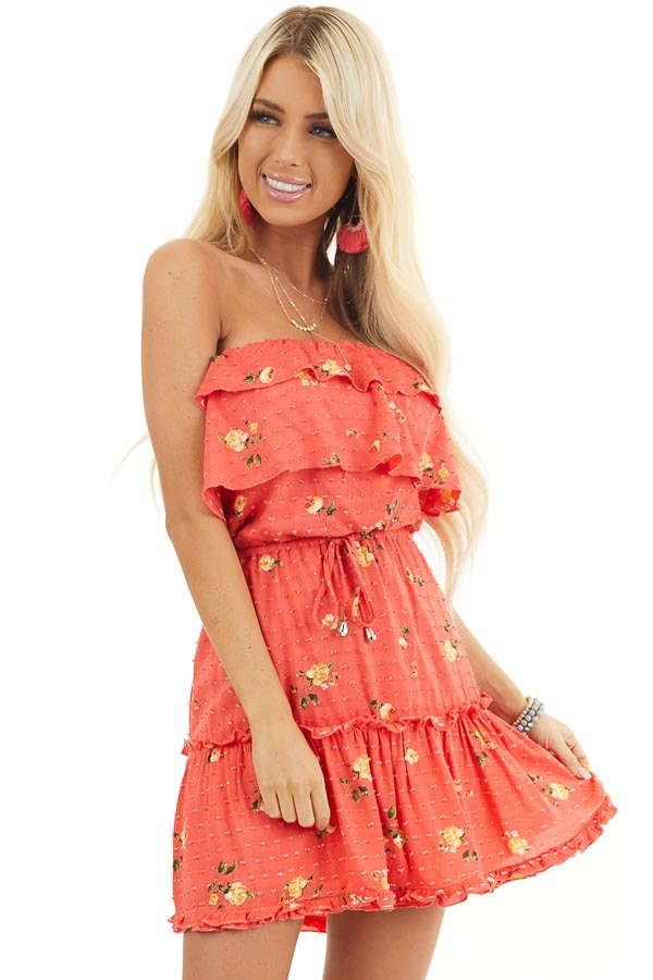 Coral Floral Print Strapless Mini Dress with Ruffle Details front close up