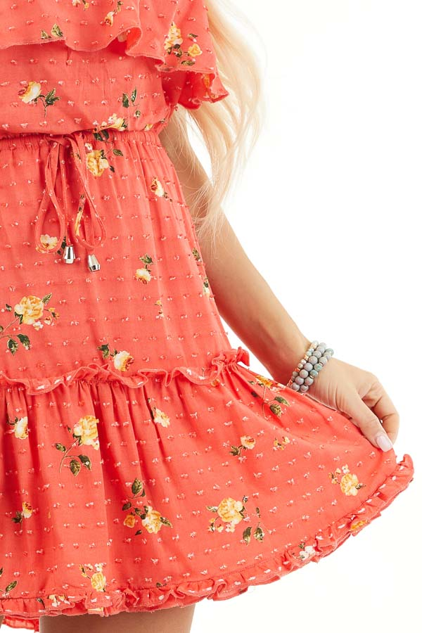 Coral Floral Print Strapless Mini Dress with Ruffle Details detail