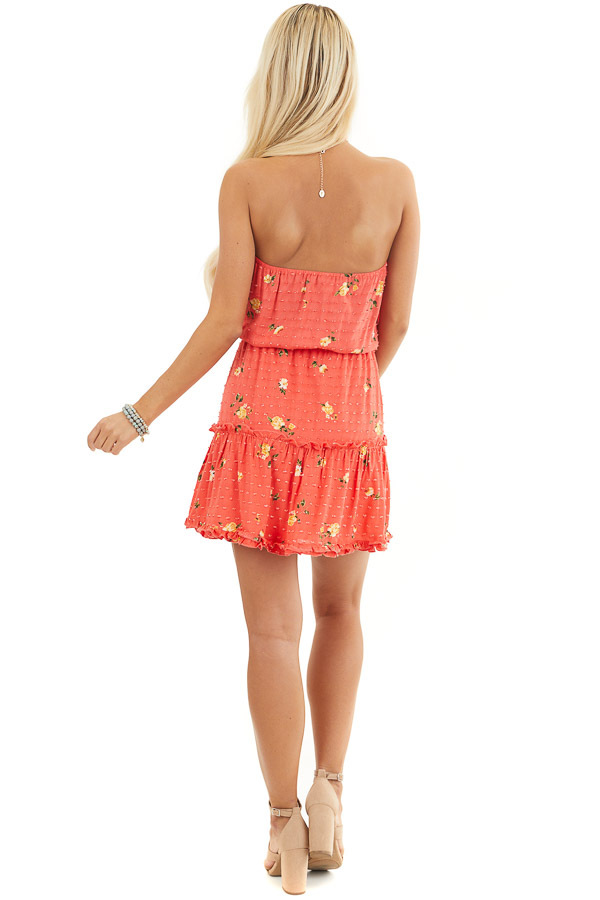 Coral Floral Print Strapless Mini Dress with Ruffle Details back full body