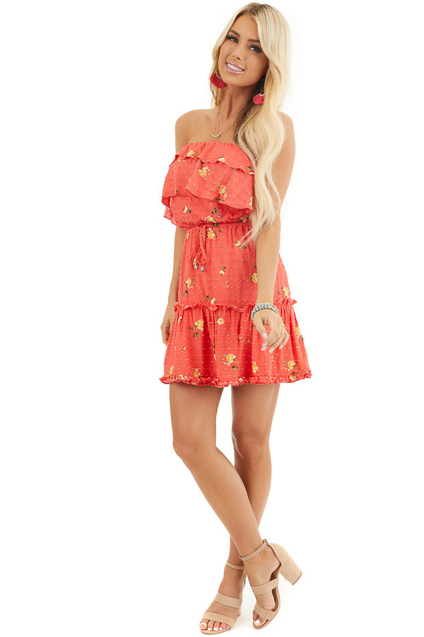 Coral Floral Print Strapless Mini Dress with Ruffle Details front full body