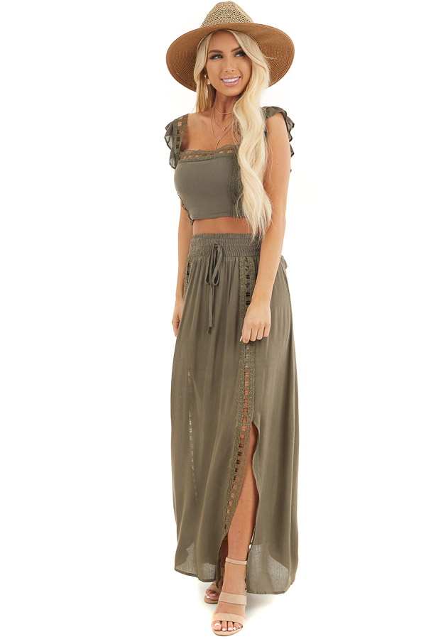 Olive Top and Maxi Skirt Two Piece Set with Lace Details front full body