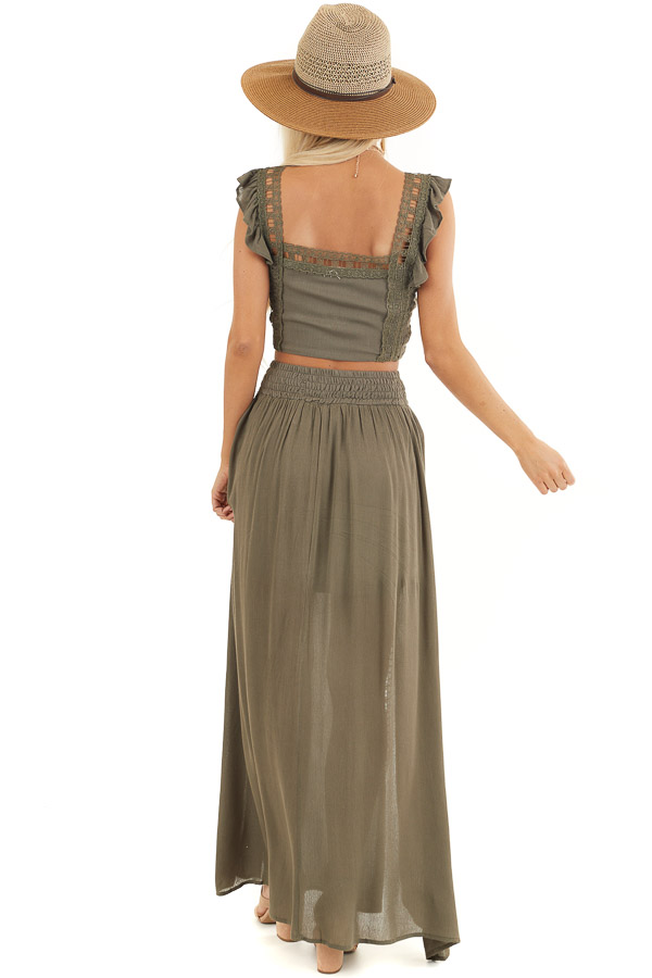 Olive Top and Maxi Skirt Two Piece Set with Lace Details back full body