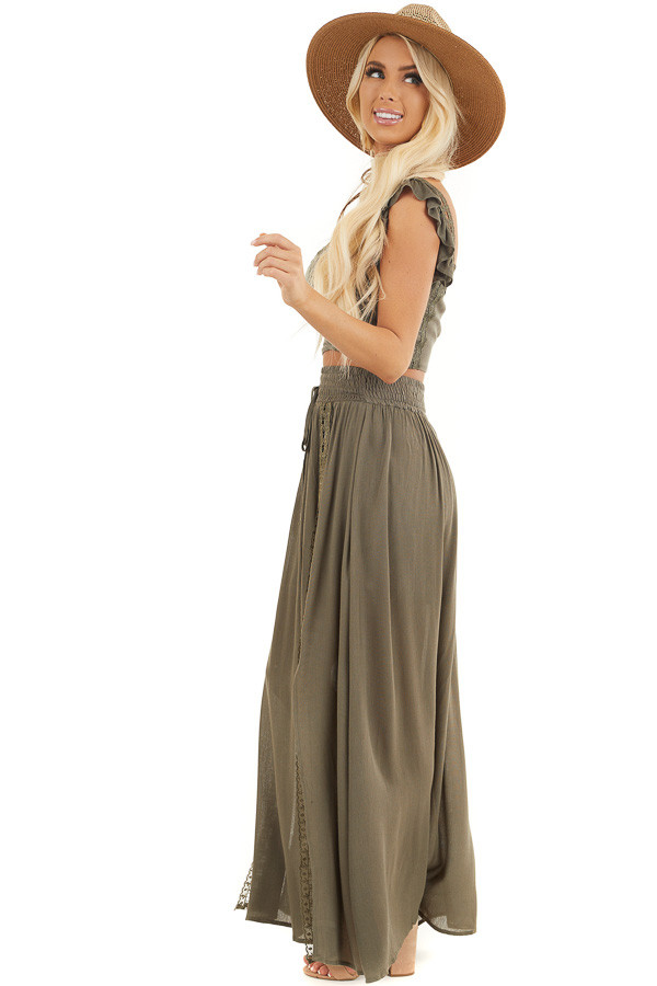 Olive Top and Maxi Skirt Two Piece Set with Lace Details side full body