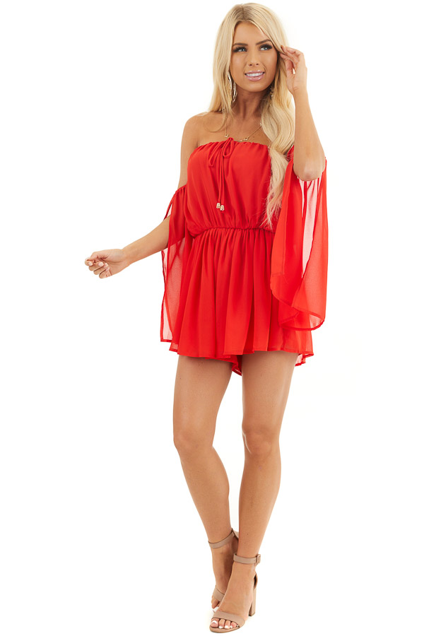 Lipstick Red Off the Shoulder Romper with Long Slit Sleeves front full body
