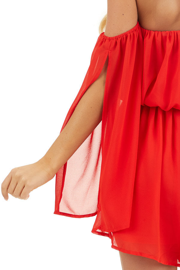 Lipstick Red Off the Shoulder Romper with Long Slit Sleeves detail