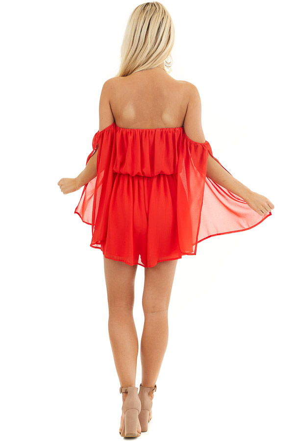Lipstick Red Off the Shoulder Romper with Long Slit Sleeves back full body