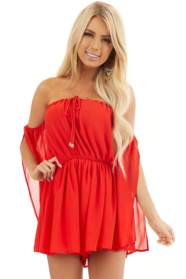 Lipstick Red Off the Shoulder Romper with Long Slit Sleeves front close up