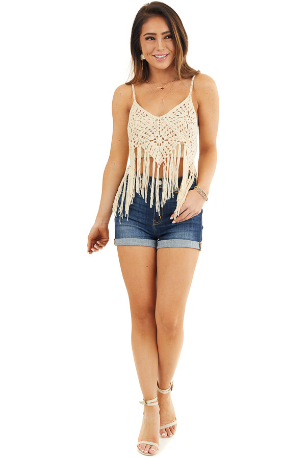 Cream Crocheted Crop Tank Top with Fringed Hem front full body