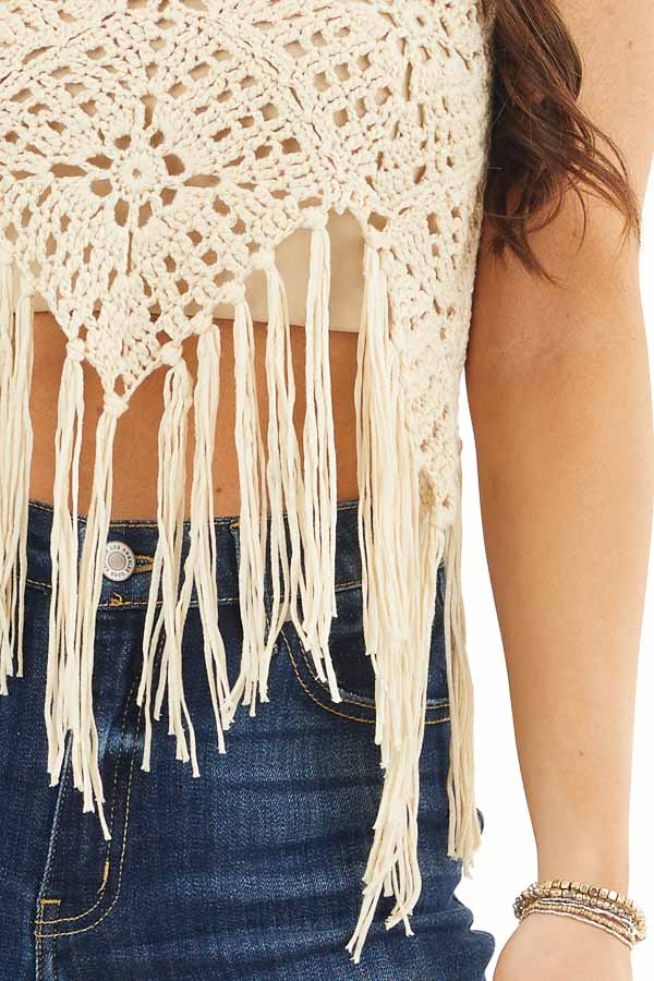 Cream Crocheted Crop Tank Top with Fringed Hem detail