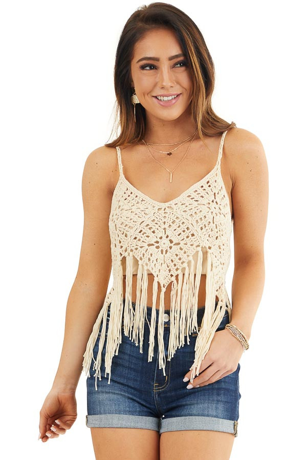 Cream Crocheted Crop Tank Top with Fringed Hem front close up