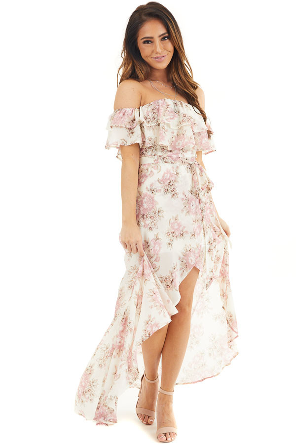 Ivory Floral Off the Shoulder High Low Dress with Waist Tie front full body