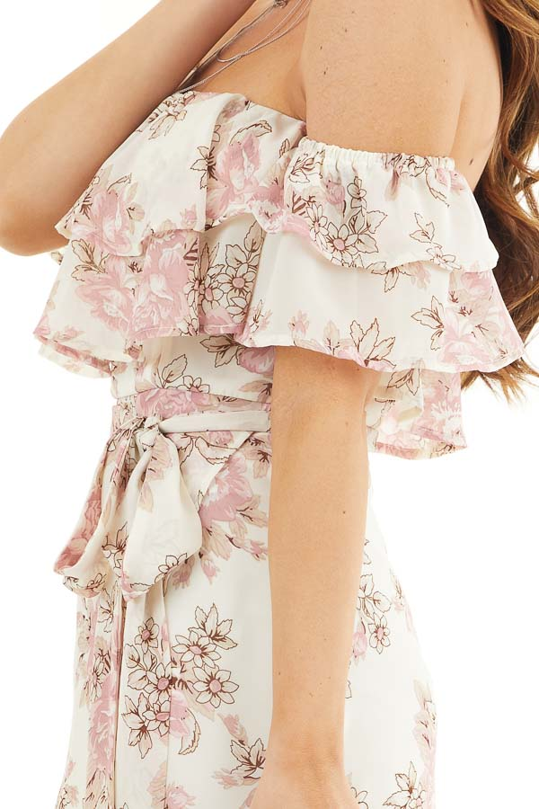 Ivory Floral Off the Shoulder High Low Dress with Waist Tie detail