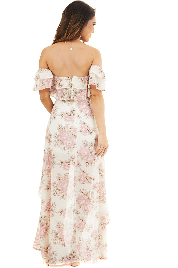 Ivory Floral Off the Shoulder High Low Dress with Waist Tie back full body