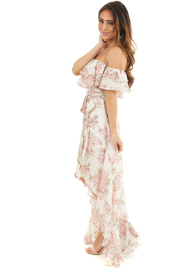 Ivory Floral Off the Shoulder High Low Dress with Waist Tie side full body