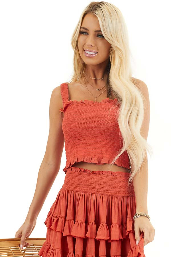 Deep Orange Smocked Sleeveless Crop Top with Ruffle Details front close up