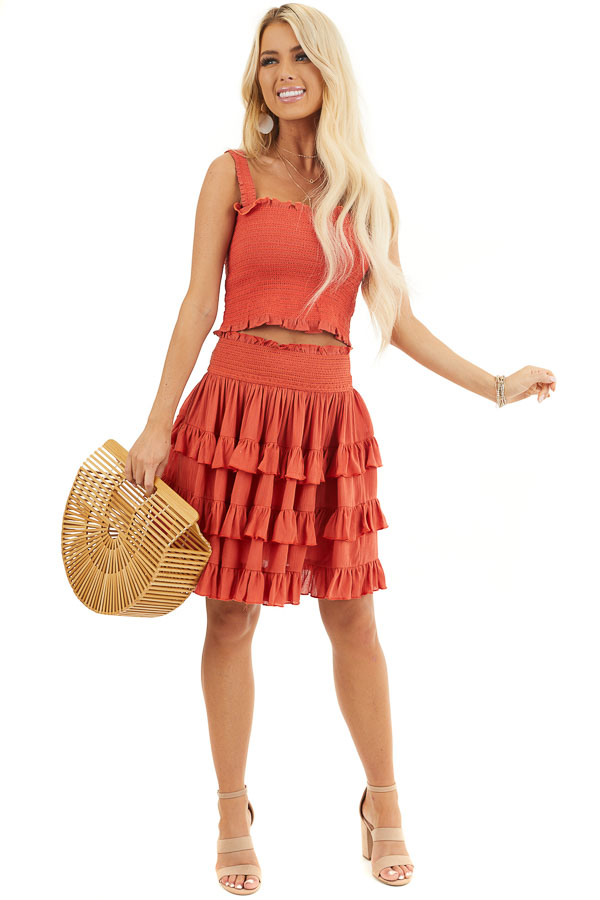 Deep Orange Smocked Sleeveless Crop Top with Ruffle Details front full body