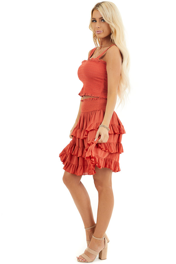 Deep Orange Smocked Sleeveless Crop Top with Ruffle Details side full body