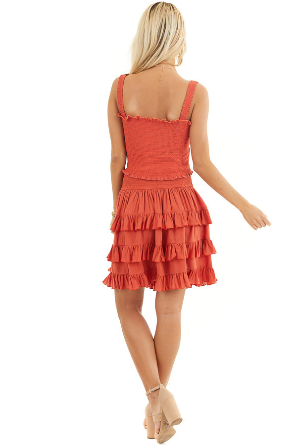 Deep Orange Smocked Sleeveless Crop Top with Ruffle Details back full body
