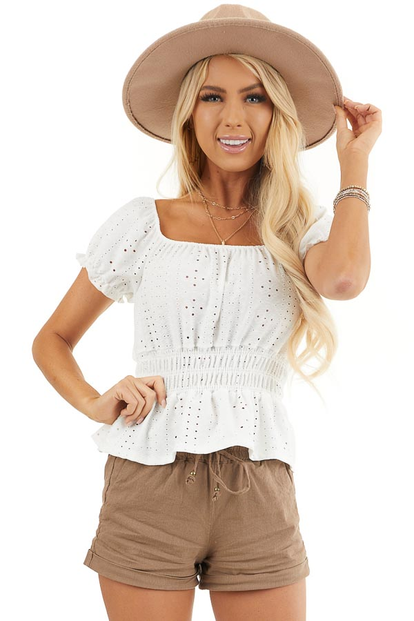 White Sheer Knit Top with Smocked Waist and Puff Sleeves front close up
