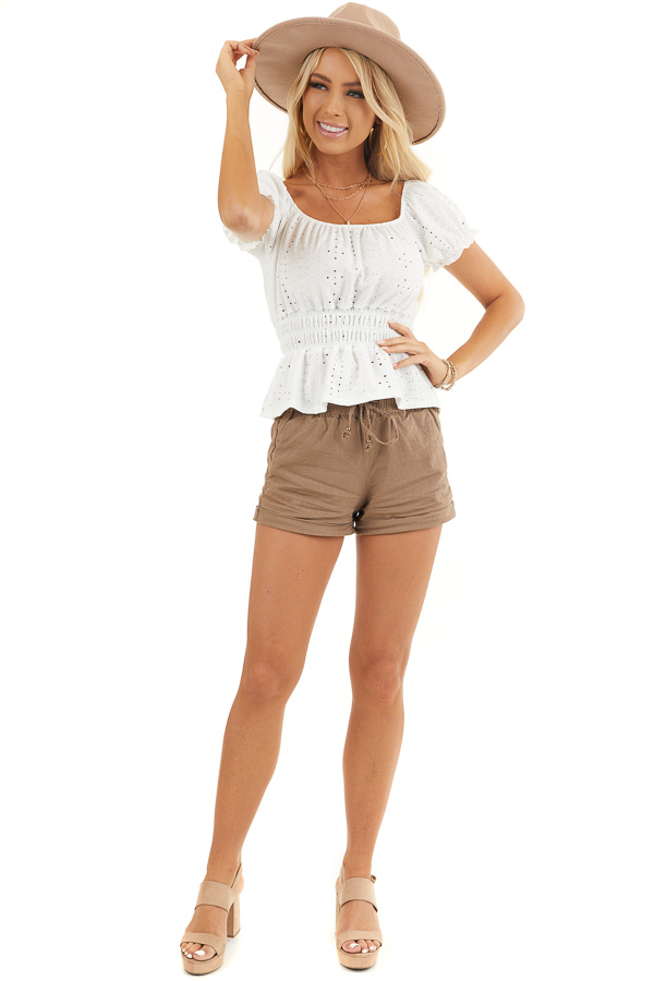 White Sheer Knit Top with Smocked Waist and Puff Sleeves front full body