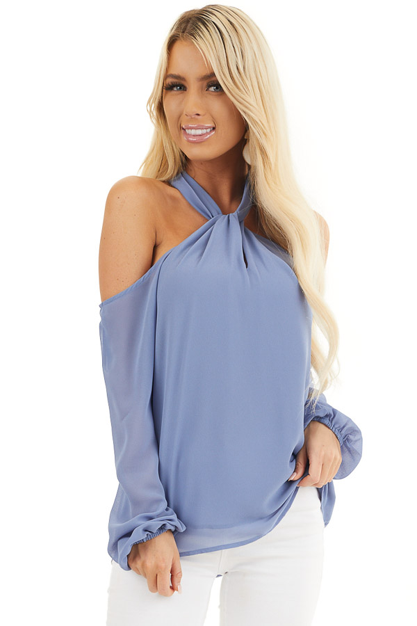 Cornflower Blue Chiffon Cold Shoulder Long Sleeve Halter Top front close up
