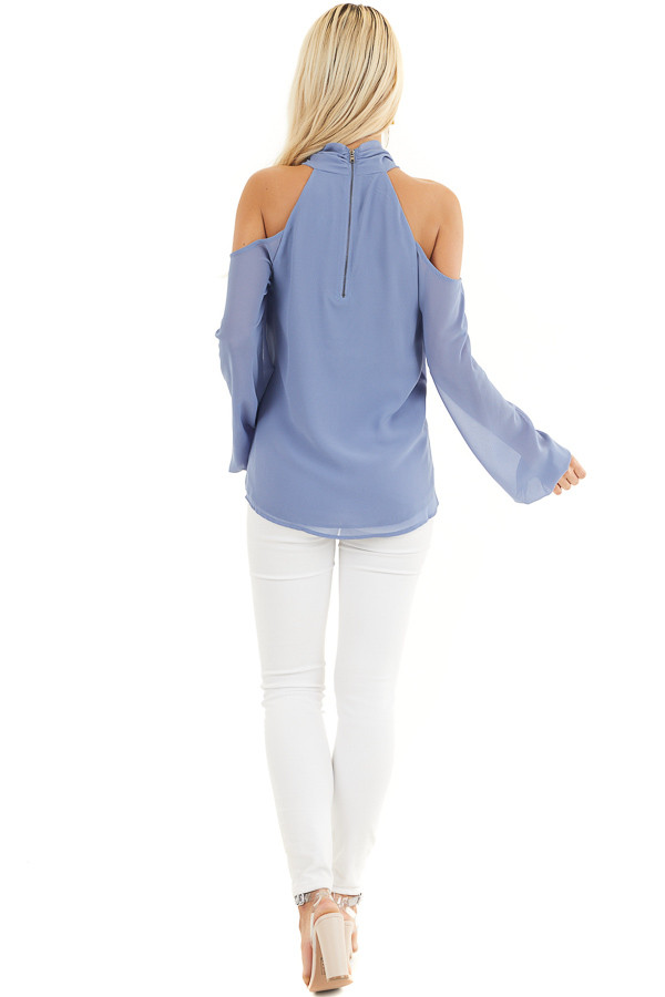 Cornflower Blue Chiffon Cold Shoulder Long Sleeve Halter Top back full body