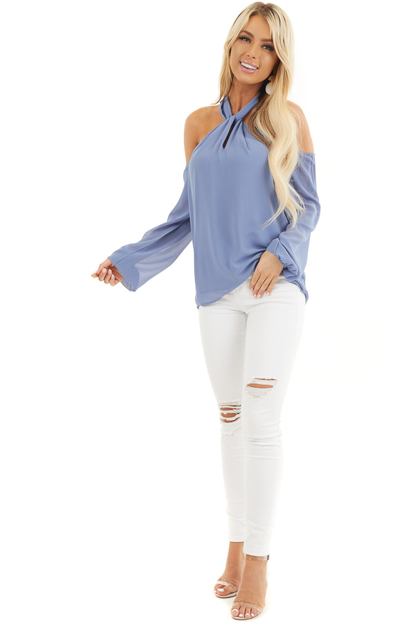 Cornflower Blue Chiffon Cold Shoulder Long Sleeve Halter Top front full body