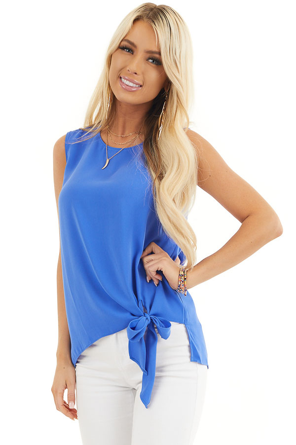 Cobalt Blue Woven Tank Top with Side Tie Detail front close up