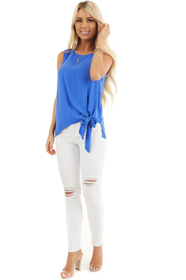 Cobalt Blue Woven Tank Top with Side Tie Detail front full body
