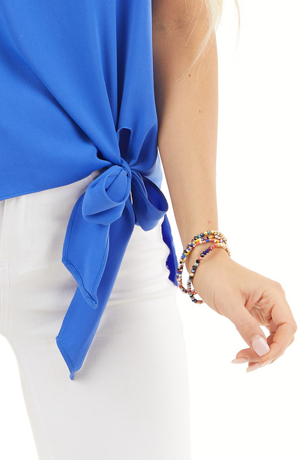 Cobalt Blue Woven Tank Top with Side Tie Detail detail