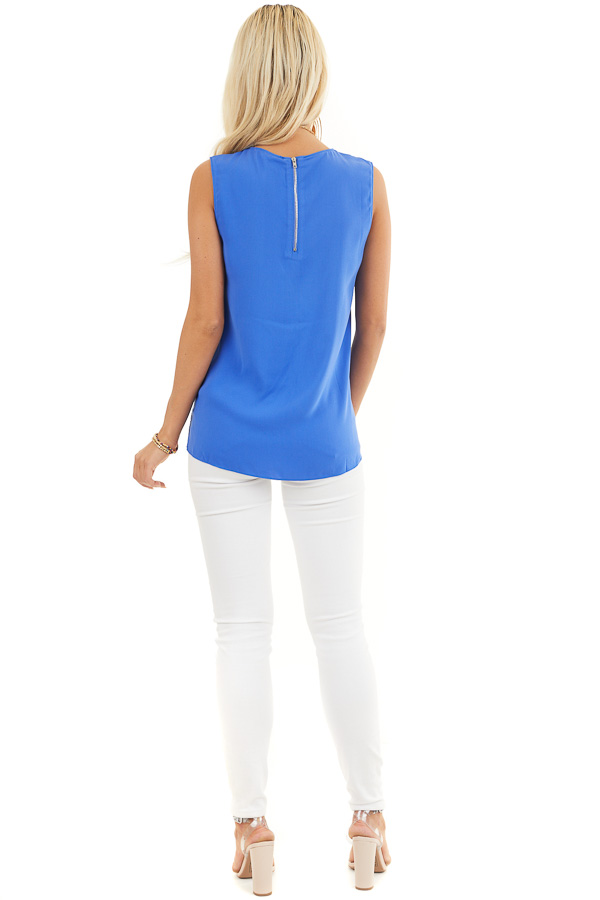 Cobalt Blue Woven Tank Top with Side Tie Detail back full body