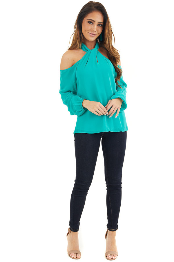 Deep Teal Chiffon Cold Shoulder Long Sleeve Halter Top front full body