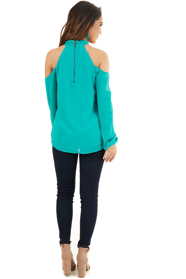 Deep Teal Chiffon Cold Shoulder Long Sleeve Halter Top back full body