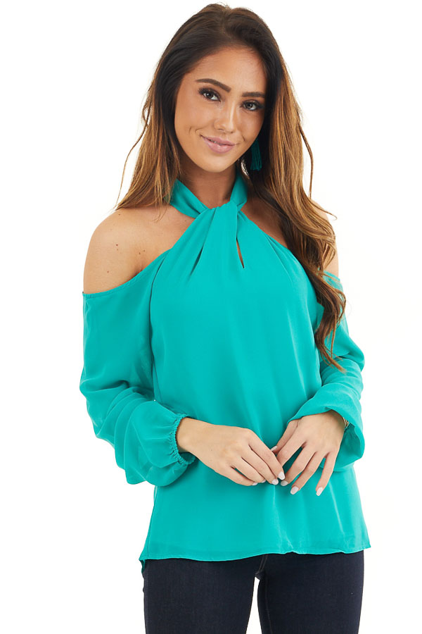 Deep Teal Chiffon Cold Shoulder Long Sleeve Halter Top front close up