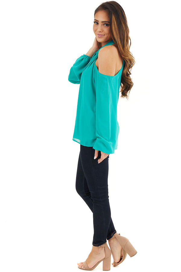 Deep Teal Chiffon Cold Shoulder Long Sleeve Halter Top side full body