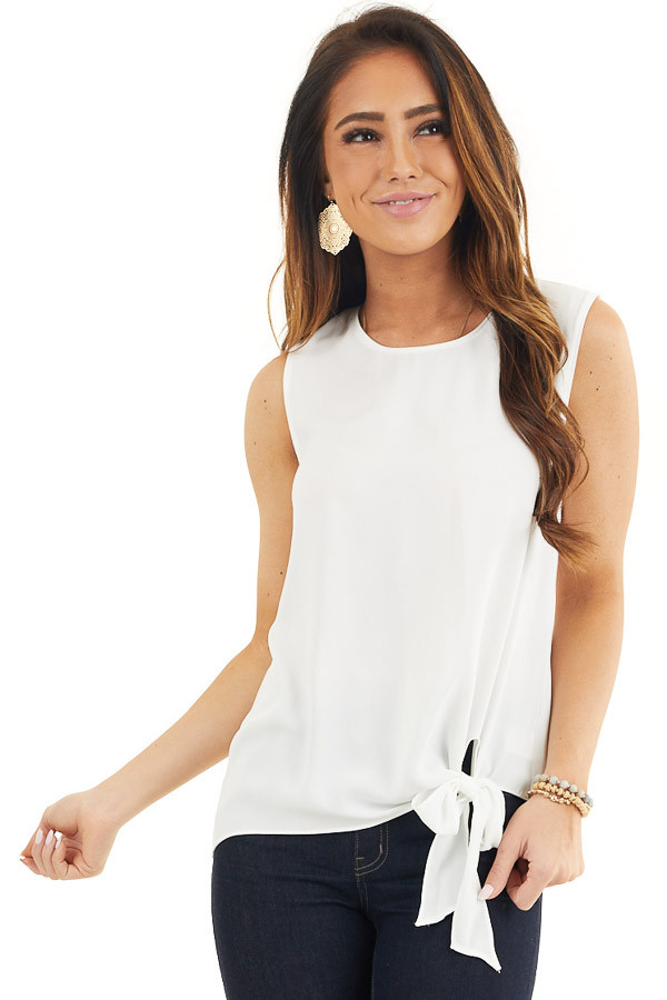 Pure White Woven Tank Top with Side Tie Detail front close up