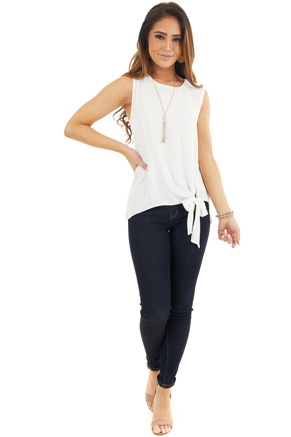 Pure White Woven Tank Top with Side Tie Detail front full body