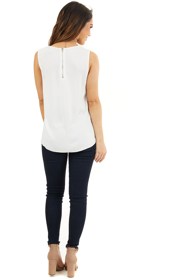 Pure White Woven Tank Top with Side Tie Detail back full body
