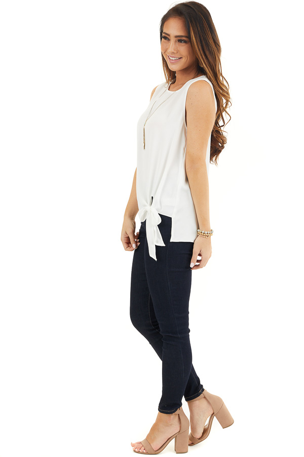 Pure White Woven Tank Top with Side Tie Detail side full body